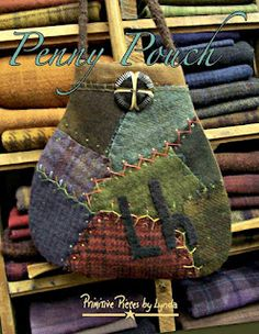 Penny Pouch, PPL086 - fabric and wool ....wonderful idea for using an old crazy quilt cutter.