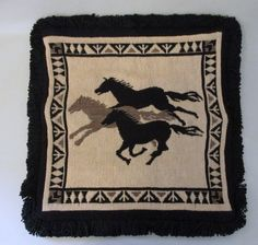 Wool  throw  rug  southwest decor  50 inches long southwestern  home decor  western decor  cowboy  horse
