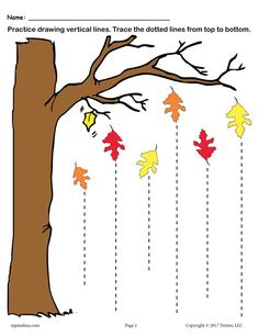 Fall Themed Line Tracing Worksheet with Straight Lines