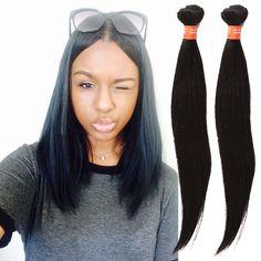"Black Brazilian Human Hair Extension 3Bundles Straight 10""-30"" Full Head Wefts #WIGISS #HairExtension"