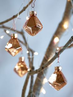 NEW Mini Geometric Baubles - Copper - Tree Decorations - Christmas