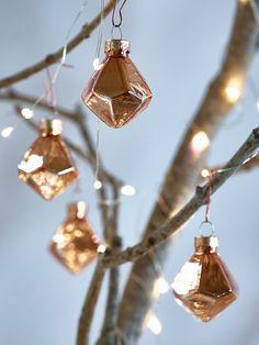 NEW Mini Geometric Baubles - Copper - Tree Decorations - Christmas