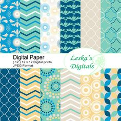 Beach digital paper  Digital paper patterns for your paper crafts and scrapbooking