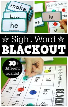Blackout Sight Word Games Free Blackout Sight Word Games This Is Such A Fun Educational Game For Prek Kindergarten And Grade Kids Homeschool Language Arts Sight Word Bingo, Sight Word Practice, Fry Sight Words, Kindergarten Games, Literacy Games, Abc Games, Literacy Centers, High Frequency Words Kindergarten, Kindergarten Sight Words List