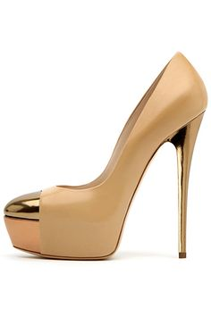 gorgeous nude casadeis with exposed platform and gold toe cap/heel #shoeporn