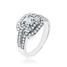 14kt white gold diamond ring.