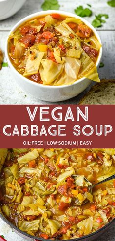 Easy vegan Cabbage Soup that's packed full of nutrients and absolutely delicious! It's low in calories, low in fat, but full of flavor. A warm and cozy soup perfect for those chilly winter nights. Easy Vegan Soup, Easy Vegetarian Dinner, Vegan Soups, Vegetarian Recipes Easy, Vegan Dishes, Healthy Recipes, Healthy Options, Healthy Foods, Keto Recipes