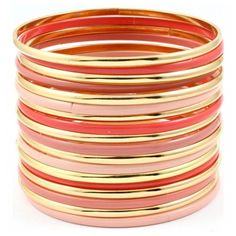 Chrissy's Peach, Pink, and Gold Stacked Bangle Set ($29) ❤ liked on Polyvore