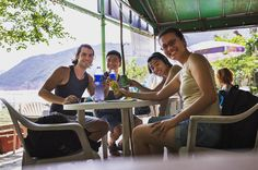 Our camp starts in three days! This is the only photo of all four of us on our site visit the week before last (camera balanced on a table). After a long walk...