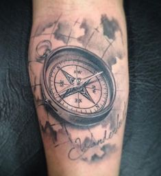Rose Tattoos For Men, Wrist Tattoos For Guys, Girls With Sleeve Tattoos, Trendy Tattoos, Compass And Map Tattoo, Nautical Compass Tattoo, Compass Tattoo Design, Map Tattoos, Tattoo Fonts