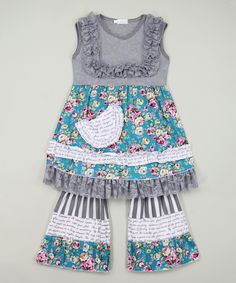 Look at this Gray Lace Tunic & Ruffle Pants - Infant, Toddler & Girls on #zulily today!