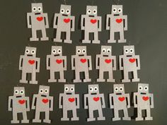 Robot Felt Iron-on Patch with Heart by BondStreetExit on Etsy