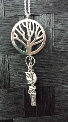 Family-Tree Silver Necklace with different charms from AMaDe www.Facebook.com/amadeaccessories