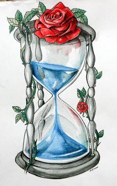 Blue Blood Hourglass by ArtOfAsthar on DeviantArt watercolour pencils on paper, tattoo design for a friend Pencil Art Drawings, Cool Art Drawings, Art Drawings Sketches, Tattoo Drawings, Hourglass Drawing, Hourglass Tattoo, Skull Tattoos, Rose Tattoos, Body Art Tattoos