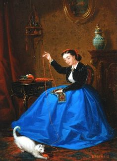 Girl in a Blue Skirt, Sewing JB Marchais (1818-1876) French Read more about Realism HERE