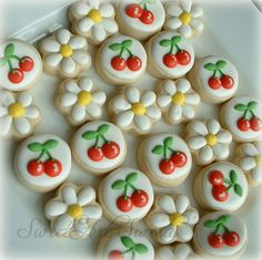 Daisy and cherry mini cookies  2 dozen by SweetArtSweets on Etsy