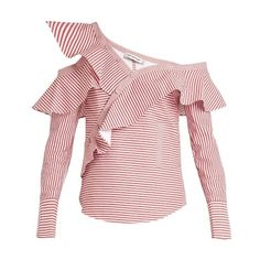 Self-portrait One-shoulder striped cotton shirt (6.300 ARS) ❤ liked on Polyvore featuring tops, red white, striped shirt, ruffle shirt, one shoulder tops, red white shirt and red striped shirt