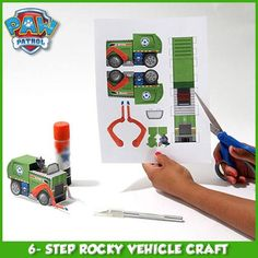 Create Rocky's vehicle from Paw Patrol! Just print the template, cut, and glue it together!