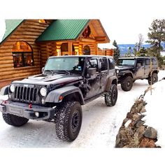 Log cabin with two Jeep Wranglers parked outside. Looks like my future