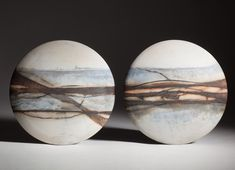 Ceramic saggar fired discs and vessels by Sinead Fagan Ceramics Ireland