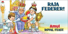 Amul at its best. Hails Roger Federer after winning Wimbledon. Hats off to Amul for bringing us such superb ads non stop. Magnus Carlsen, Beijing Olympics, End Of An Era, India First, Cartoon Posters, Ad Art, Roger Federer, Bollywood Actors