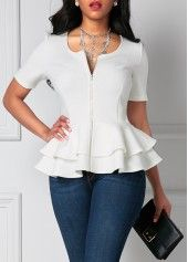White Zipper Up Flouncing Layered Short Sleeve Blouse | Rosewe.com - USD $30.03