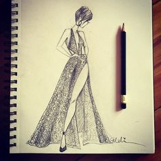 Sexy evening gown with embroidered lace overlay. #fashiondesigner #melidesign #mysahmlife #handdrawn #firstlove #eveningdress #fashionillustration #fashionsketch #blackonwhite #pencildrawing #ilovefashion