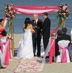 green and pink beach wedding