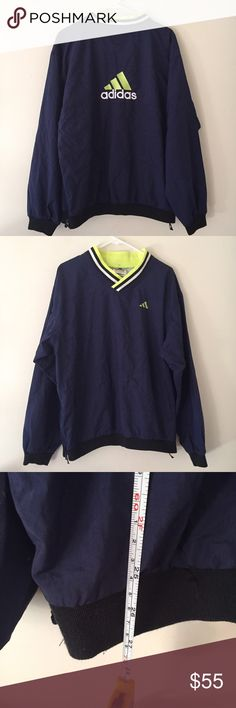Vtg adidas unisex windbreaker pullover jacket Will fit large in women's excellent cond Adidas Jackets & Coats Utility Jackets
