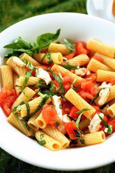 mozzarella, tomatoes, basil, and pasta