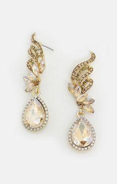 Crystal Tiffany Earrings in Champagne