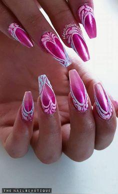 Valentine's Day Nail Designs, Elegant Nail Designs, Acrylic Nail Designs, Valentine Nail Art, Red Acrylic Nails, Painted Nail Art, Luxury Nails, Crystal Nails, Hot Nails
