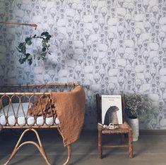 Such a gorgeous bear wallpaper that would fit perfectly in either a girl's or boy's room by with a mustard blanket by - - - - kidsroom Baby Bedroom, Nursery Room, Kids Bedroom, Boho Nursery, Interior Wallpaper, Kids Wallpaper, Baby Room Design, Nursery Inspiration, Colorful Interiors