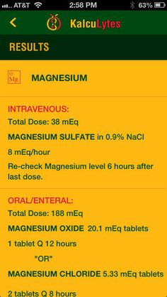 Electrolyte Replacement Calculator - for iPhone and iPad. #medical #apps
