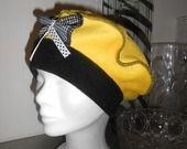 Bonnet béret chapeau polaire enfant jaune et noir maya : Mode filles par lin-eva