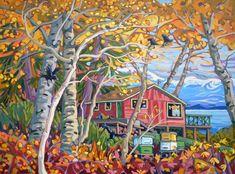 Greta Guzek, ABIDING SWEETNESS (36x48) Caribbean Art, Storybook Cottage, Funky Art, Alcohol Ink Painting, Quilling Art, Whimsical Art, Tree Art, Fractal Art, Medium Art