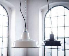 Hängelampen - Fabriklampe 31cm Emaillelampe Enamel - ein Designerstück von 10kgdesign bei DaWanda