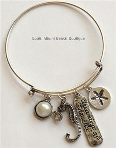 Silver Plated Pearl Sea Life Charm Bracelet Shell Starfish Seahorse Island Beach #Redwood #Traditional