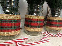 Set of 3 Burlap and Christmas Plaid Ribbon Wrapped Mason Jars. Perfect for Gifts, Home Decorations, Weddings, Storage, and MORE