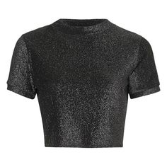 Women's Topshop Metallic Short Sleeve Crop Tee ($18) ❤ liked on Polyvore featuring tops, t-shirts, topshop, crop top, sparkly crop top, metallic t shirt and crop tee
