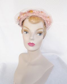 1950's Vintage Pink Hat with Flowers Netting and Bow