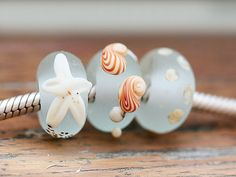 Lampwork glass beads, large hole beads - Seaglass look aqua blue, beachy, etched - European Charms - SRA
