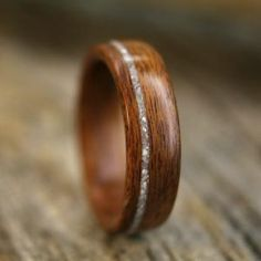 wood and diamond ring