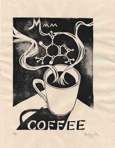 Coffee Lino Block Print with Caffeine Molecule - Cut it, ink it, print it - Kaffee Linocut Artists, Linoleum Block Printing, Home Wall Art, All Things, Art Prints, Lino Prints, Illustration Art, Ink, Handmade