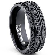 Oliveti Men's Black Plated Titanium Black Cubic Zirconia Comfort-fit Ring - Overstock Shopping - Big Discounts on Men's Rings