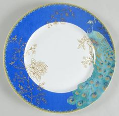 """Peacock Garden"" china pattern with turquoise bird and gold flowers from 222 Fifth."