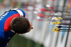 French archer Romain Girouille takes a closer look at the target