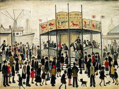 Lowry painting - A Fairground Salford, Spencer, English Artists, Gcse Art, Paintings I Love, Naive Art, Art For Art Sake, Urban Landscape, Figurative Art