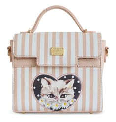 Baby Pink Color Embroidery Flap Floral Stripes Dot Cat Leather Small Leather PU Women's Handbags Messenger Crossbody Bag Tote