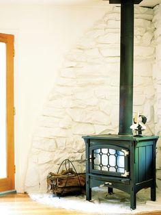 The Flagstone Surrounding Pot Bellied Stove Brick Hearth Stone Wood